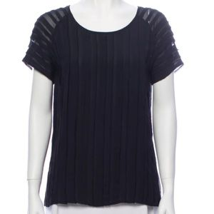Joie Silk Striped Short Sleeve Blouse Black Medium